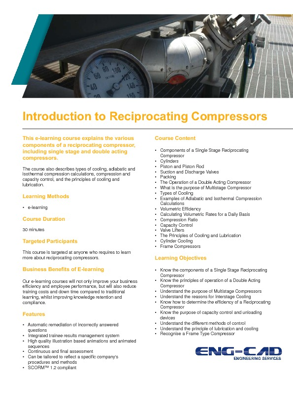 Intro to Reciprocating Compressors Training Course Information PDF